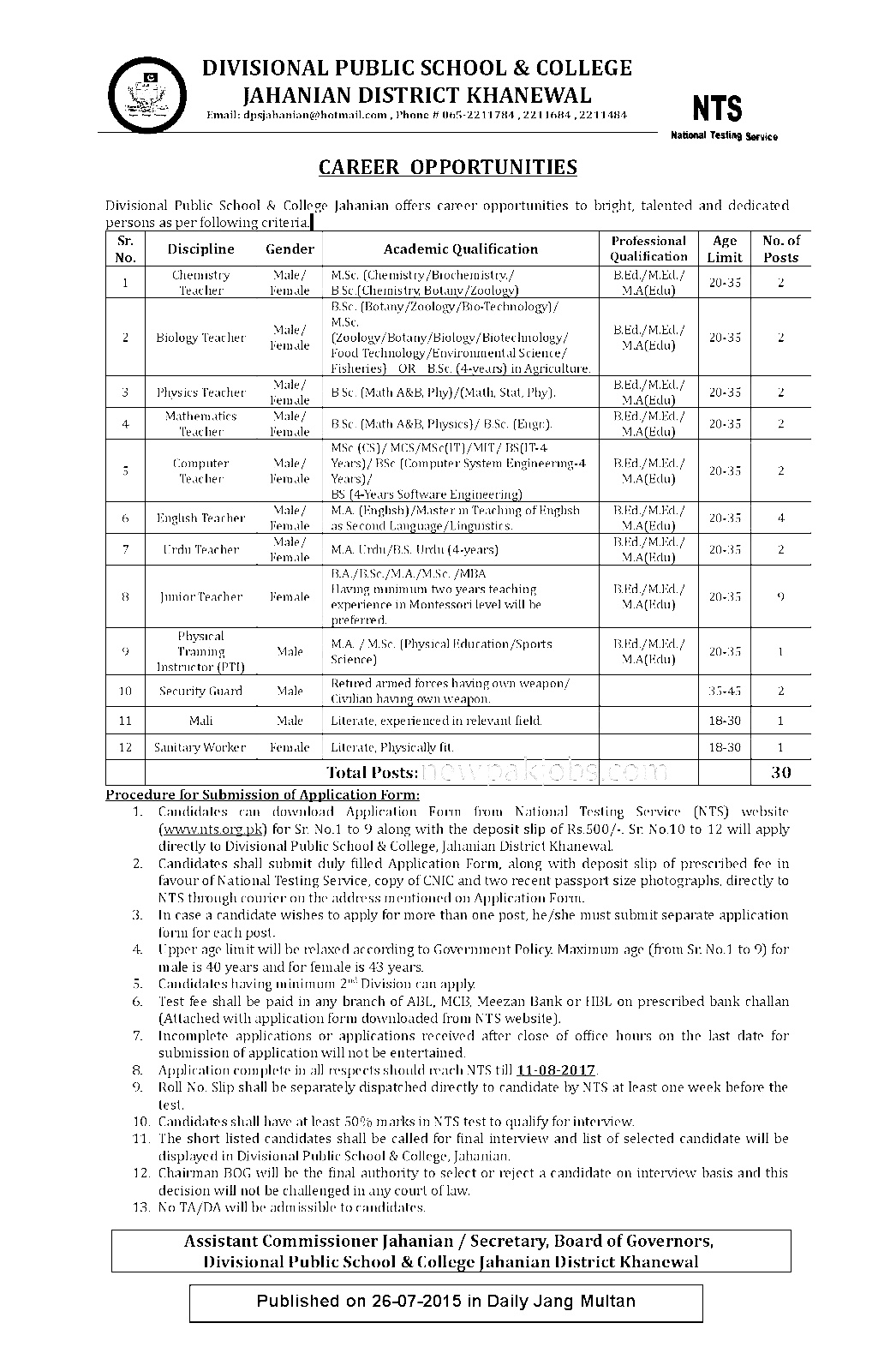 NTS Jobs in Divisional Public and College Jahanian District Khanewal 2018