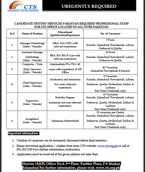 CTS Jobs 2018 Apply online Forms Candidates Testing Service