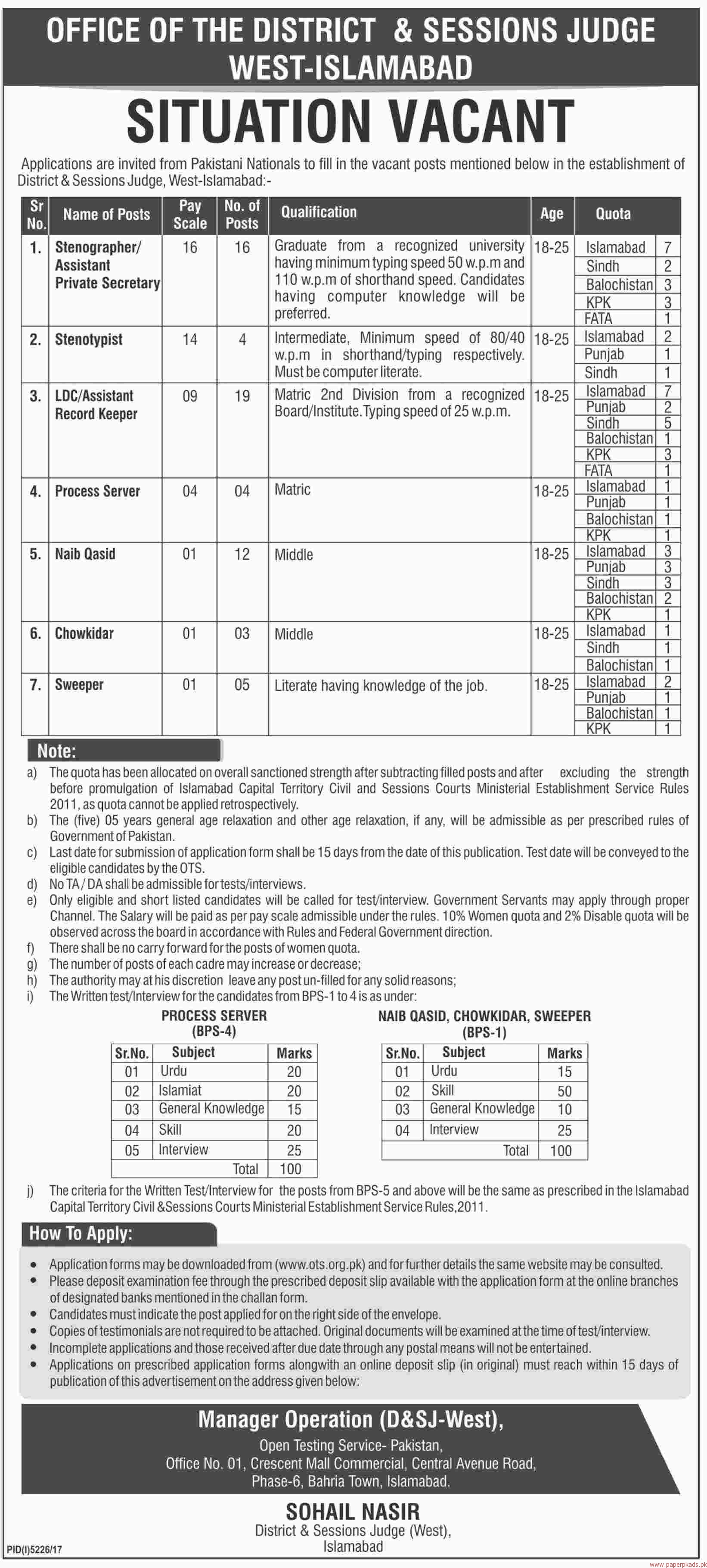 District and Session Judge West Islamabad OTS Jobs 2018 Application Form Online Roll No Slips
