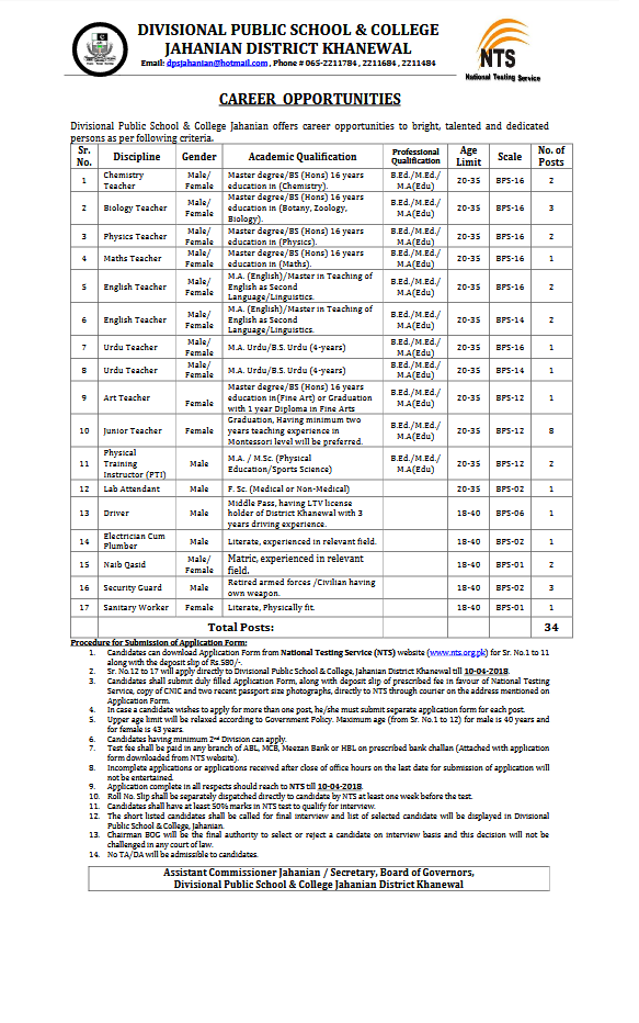 Divisional Public School and College Jahanian NTS Jobs 2108 Online Application Form NTS Roll No Slips Test Syllabus Candidates List