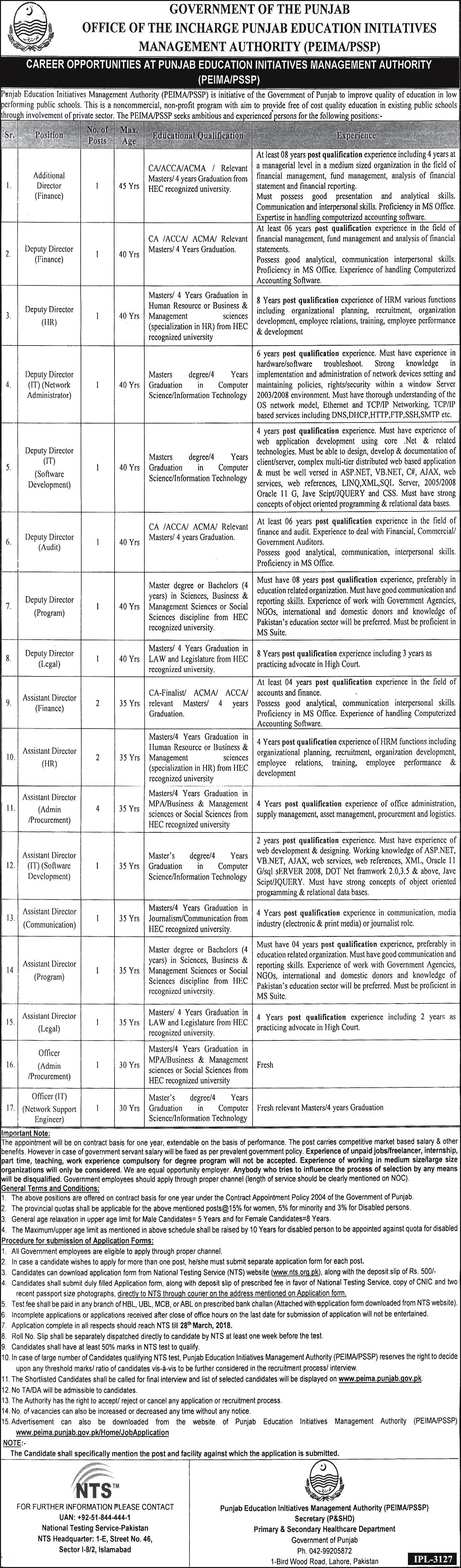 Punjab Education Initiative Management Authority PEIMA/PSSP Jobs March 2018 Online NTS Application Form Test Preparation