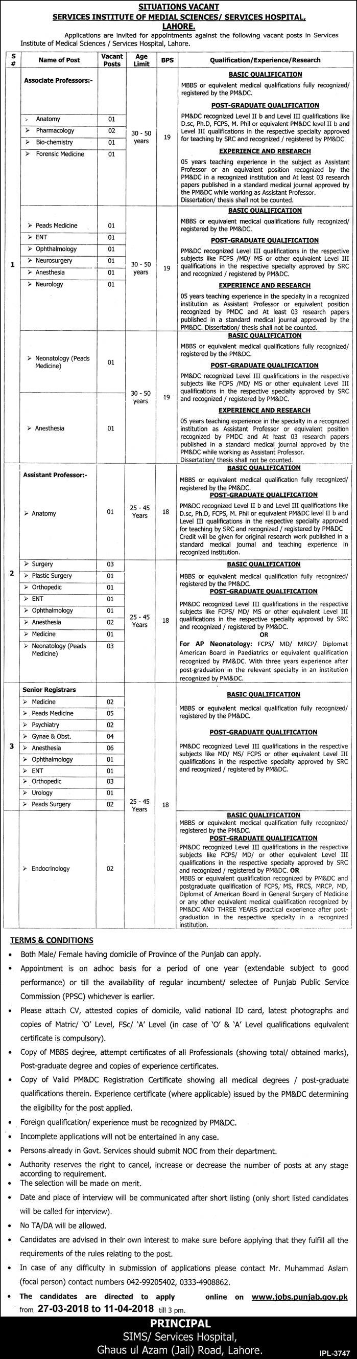 Service Hospital Lahore PPSC Jobs 2018