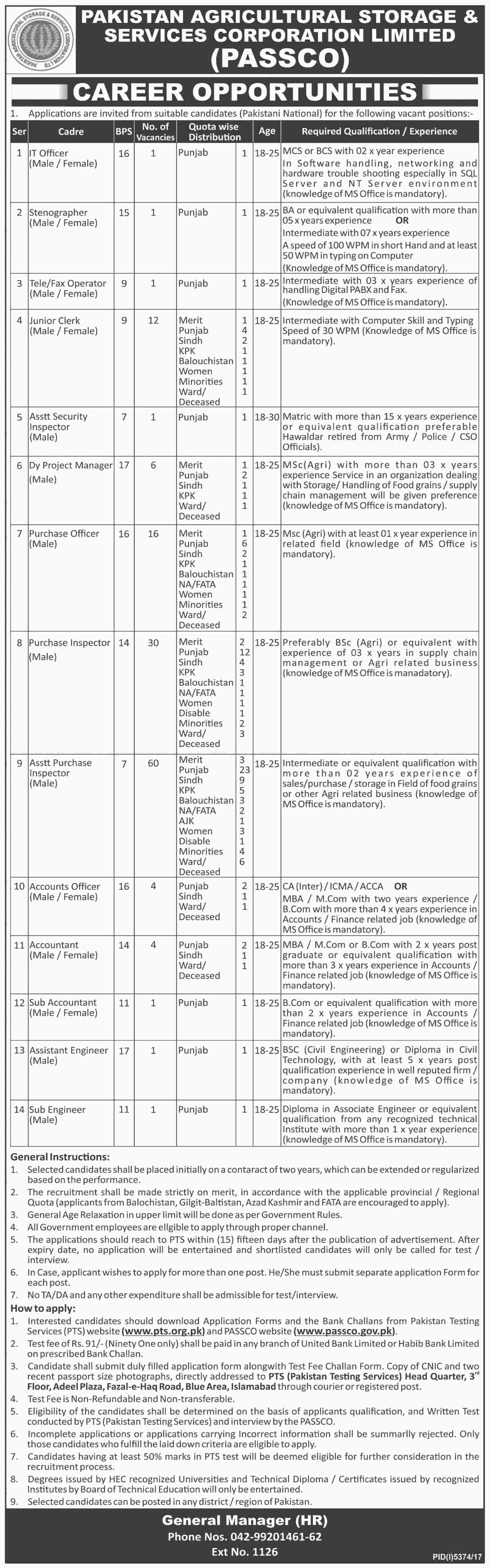Pakistan Agricultural Storage & Services Corporation Limited PASSCO PTS Jobs 2018