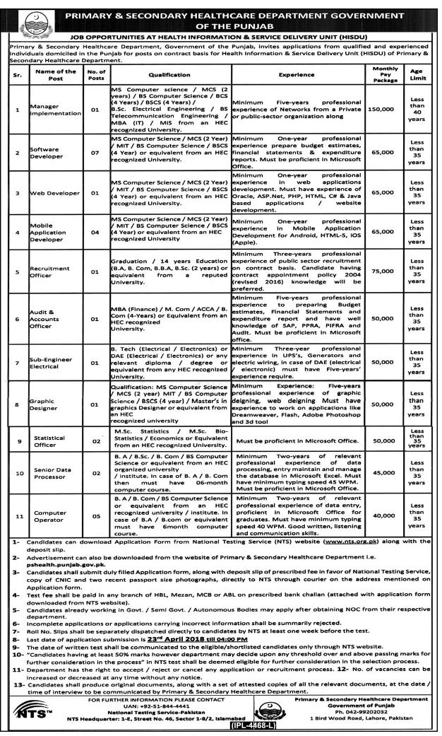 NTS Punjab Govt Health Jobs 2018 Apply Online