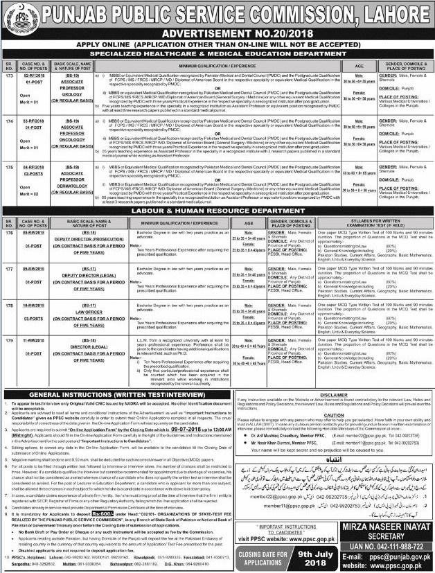PPSC Jobs 2018 June for Professors Posts Urology Oncology Dermatology and Law Officers Preparation mcqs Online