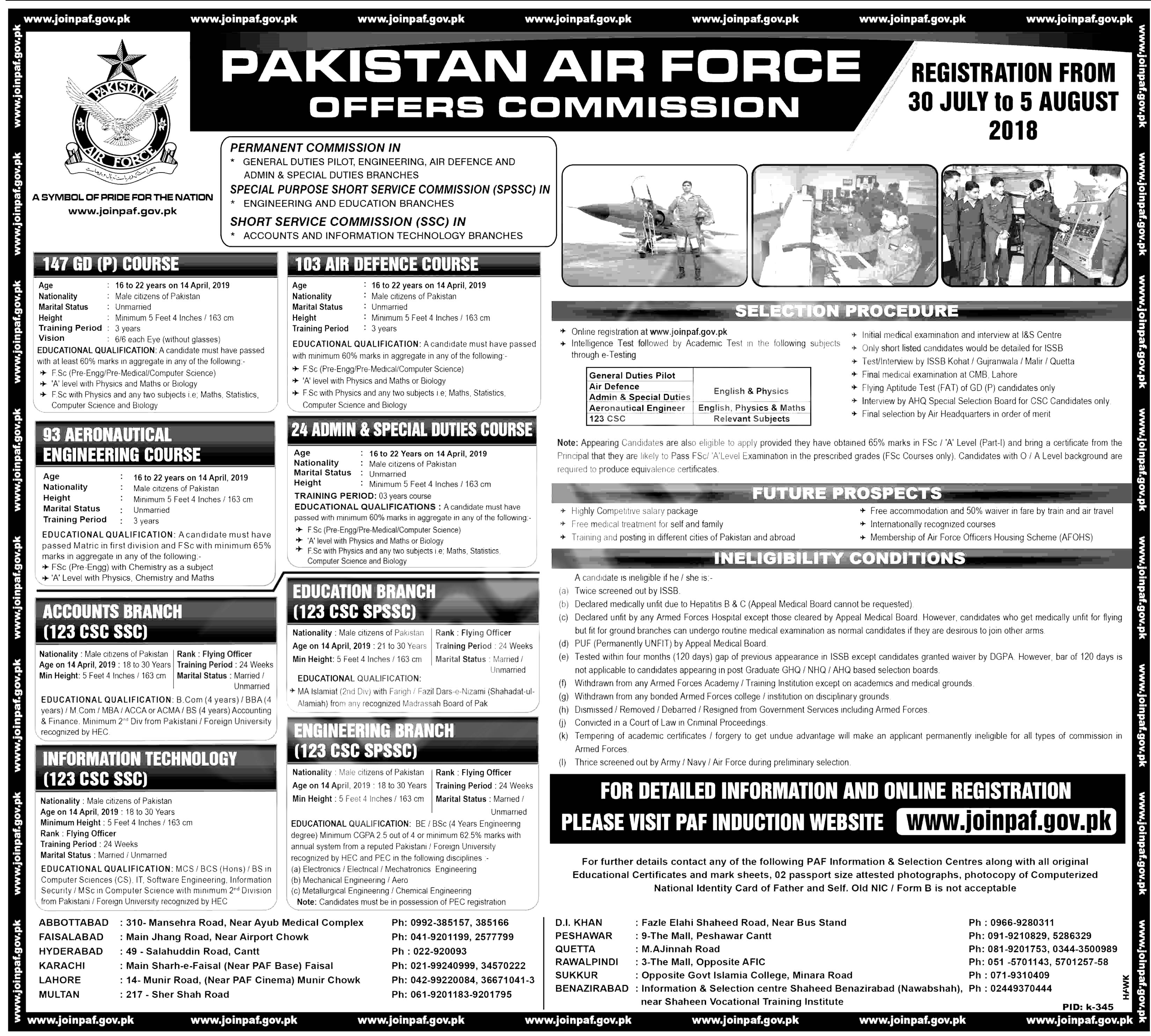 Join PAF As GD Pilot 2018 Registration apply online for Commission officer