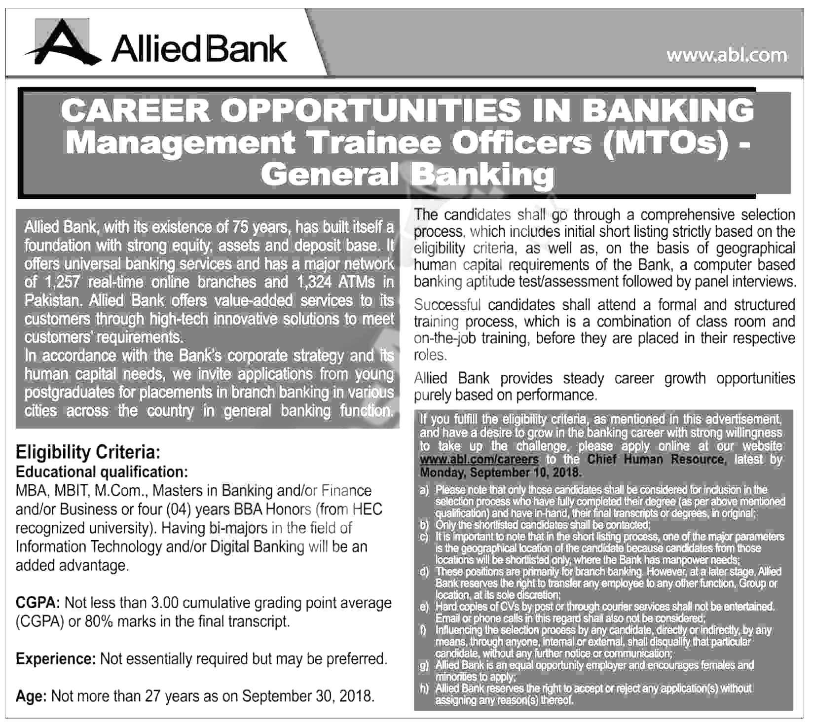 ABL Management Trainee jobs 2018 Download application Form