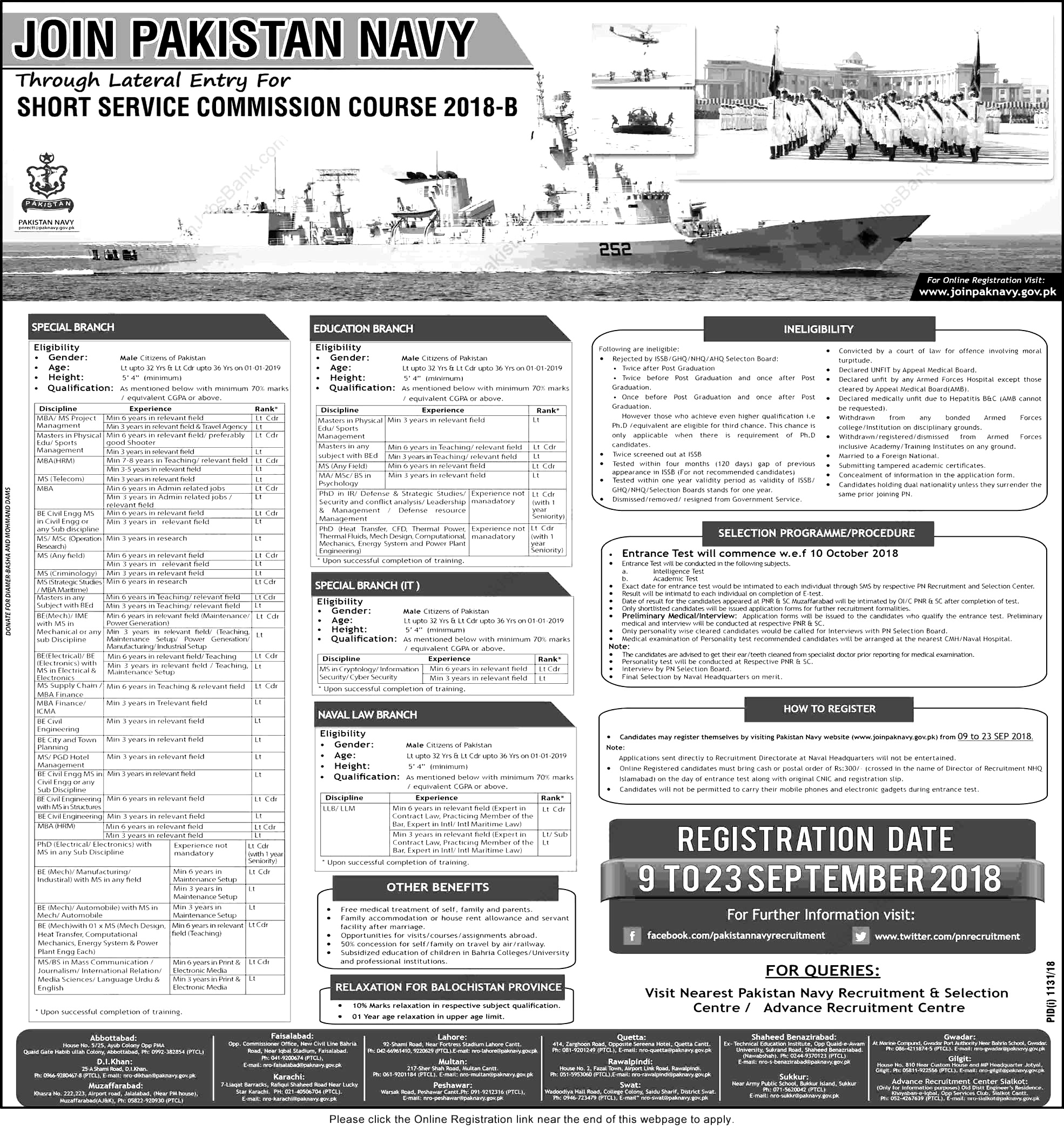 Join Pakistan Navy as commission officer September 2018 online registration