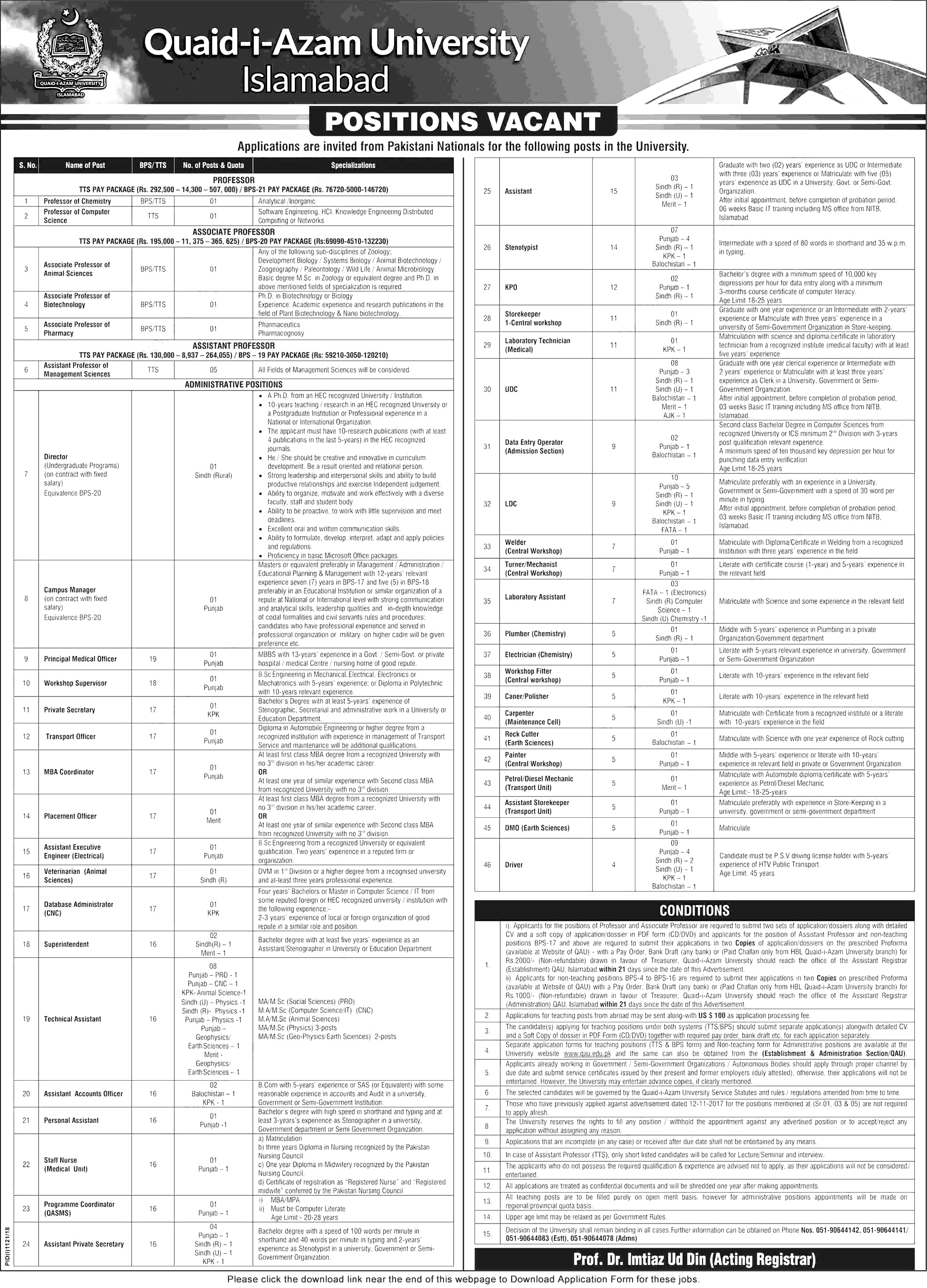 Quaid-e-Azam University Islamabad professor and admin staff Jobs 2018 application forms download online