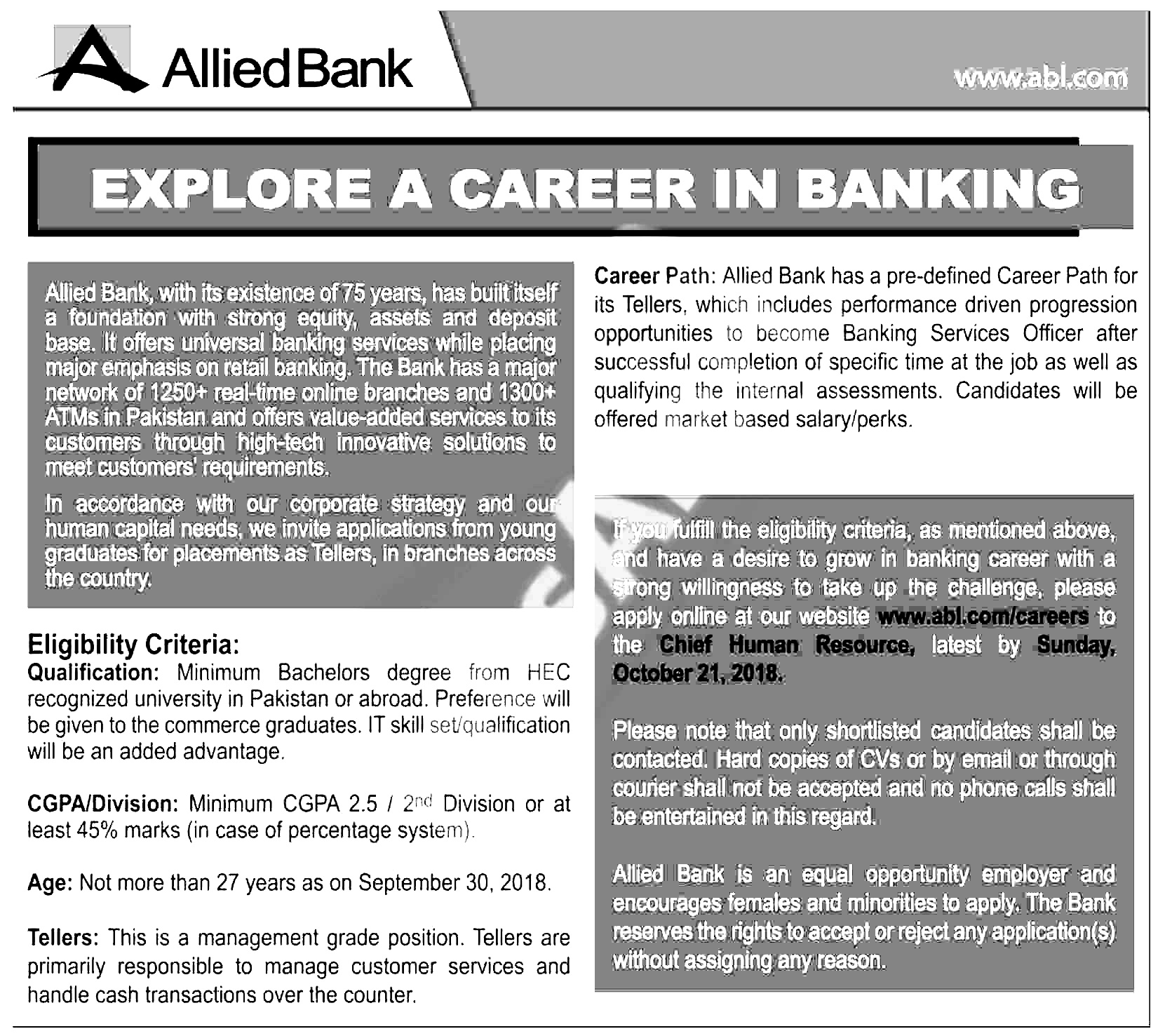 Allied Bank Tellers jobs 2018 Apply Online Download Application form