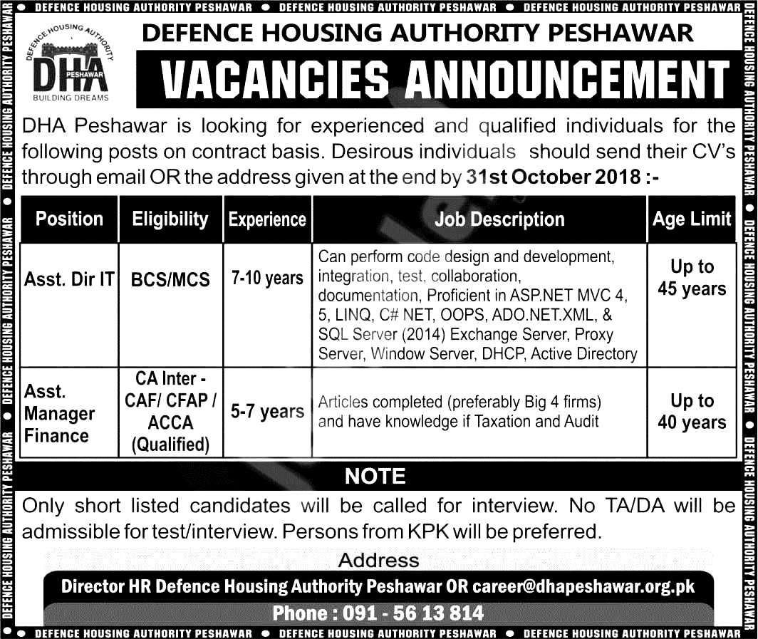 DHA Defence Housing Authority Peshawar Jobs 2018 Apply Online