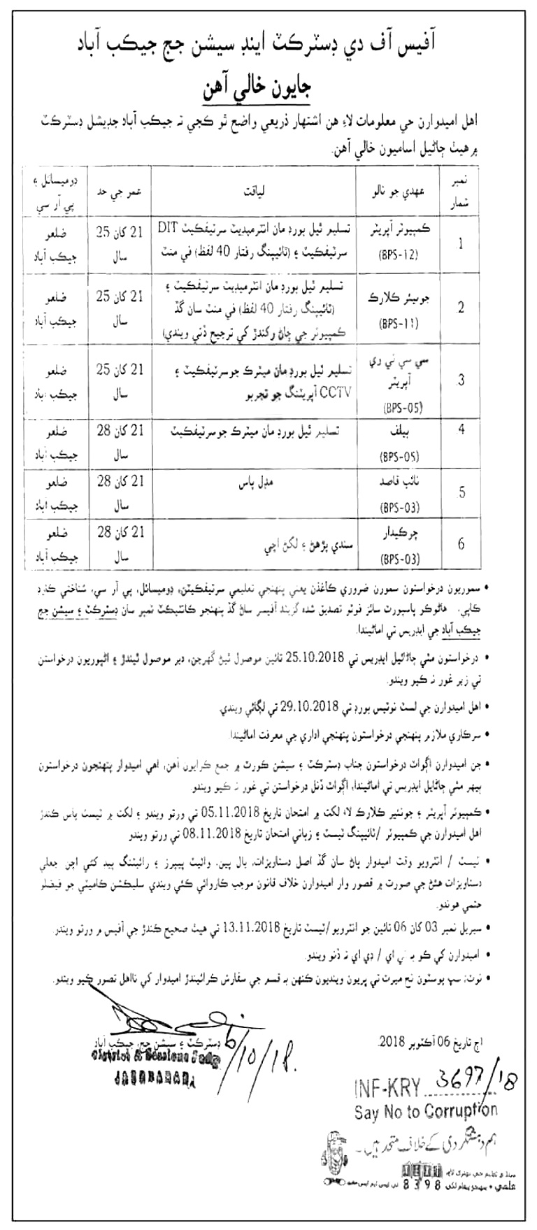 District & Session Court Jacobabad Jobs 2018 Download Application form