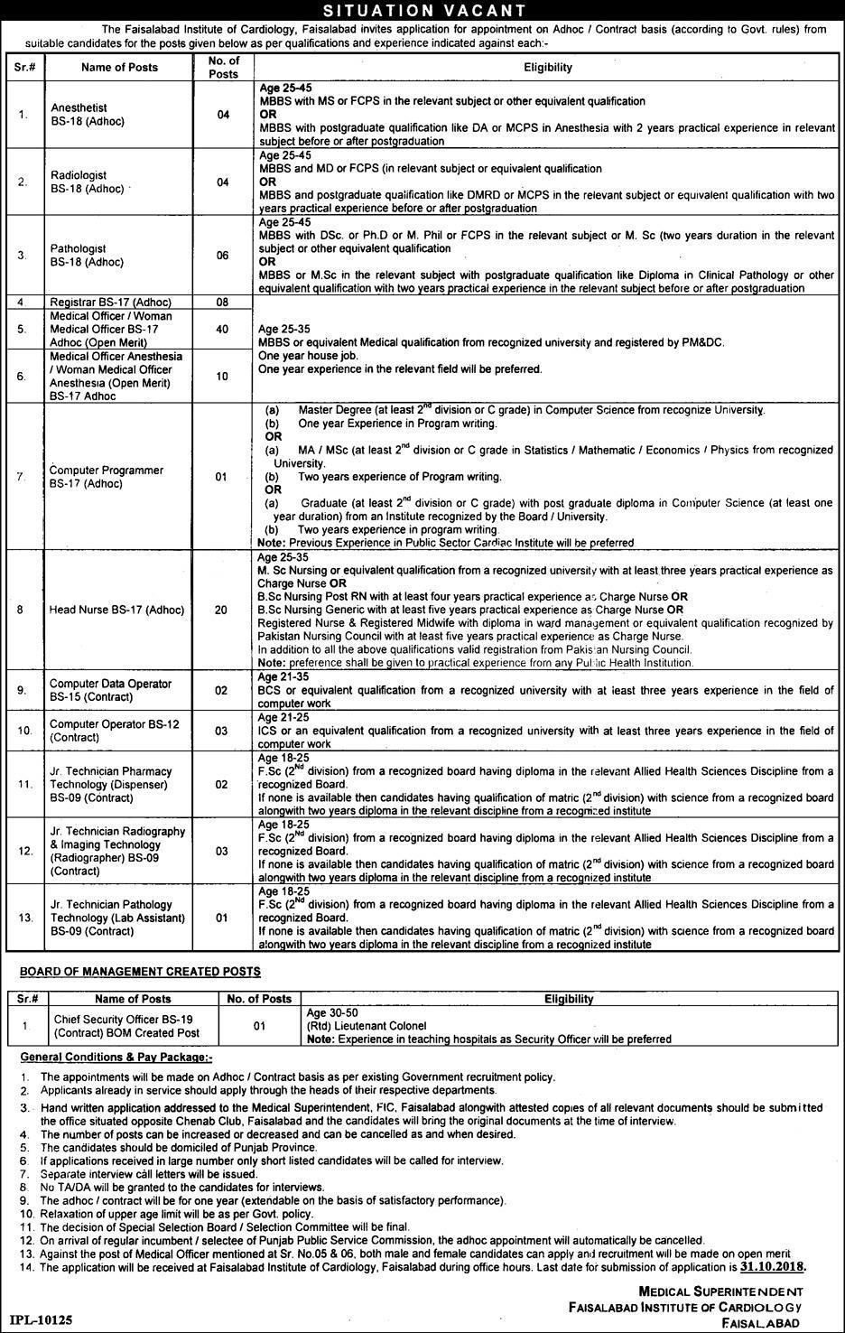Faisalabad Institute of Cardiology Jobs 2018 Apply Online