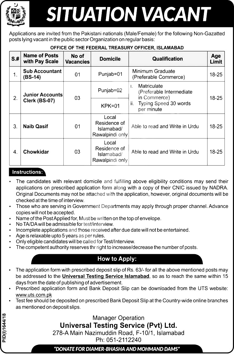 Federal Treasury Office Islamabad Jobs 2018 Download Application form