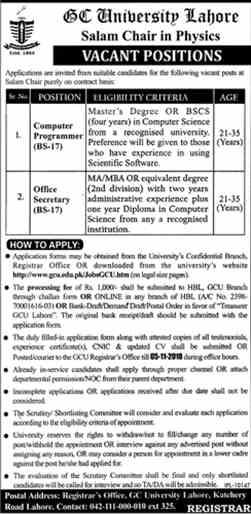 GC University Lahore Jobs 2018 Download Application form