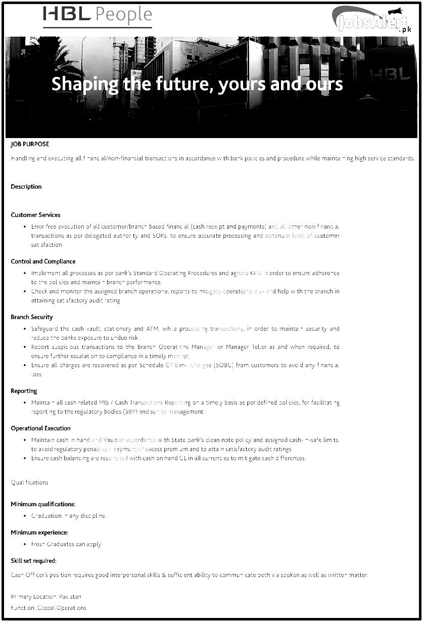 HBL Cash Officer jobs 2018 Male/Female Apply Online