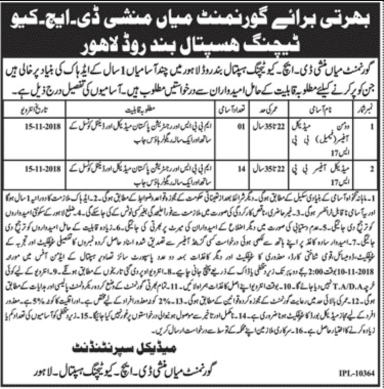 Latest Govt Mian Munshi DHQ Teaching Hopital Lahore jobs 2018 Download Application
