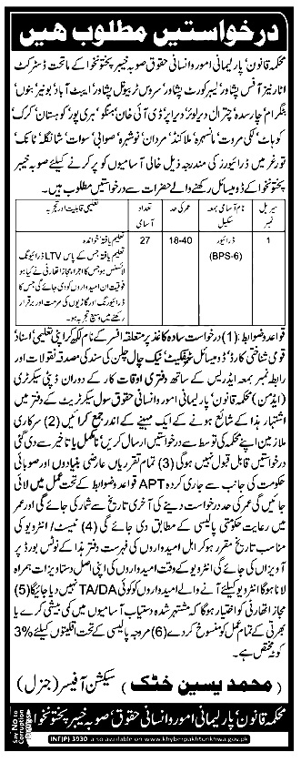 Law Parliamentary Affairs and Human Rights Department Jobs 2018 Apply Online