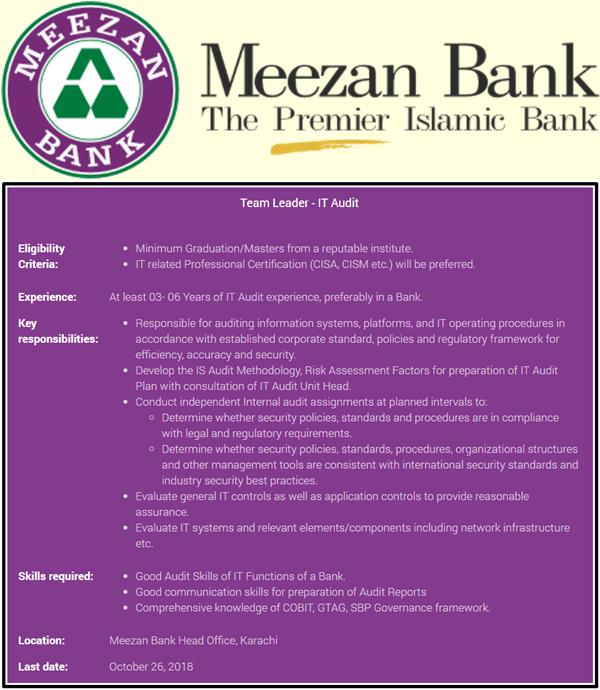 Meezan Bank Team Leader-IT Aubit Jobs 2018 Apply online