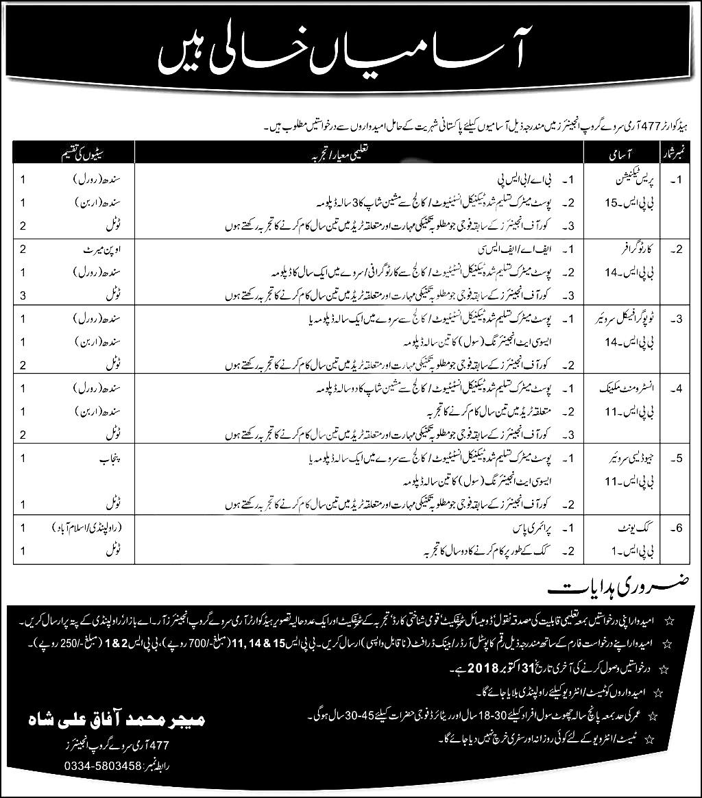 Pak Army Headquarter Jobs 2018 Apply Online