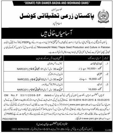 Pakistan Agricultural Research Council Jobs 2018 Online Apply