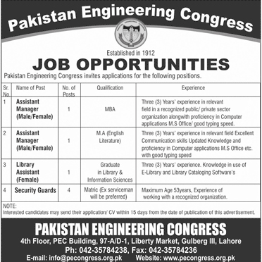 Latest Pakistan Engineering Congress Lahore jobs 2018