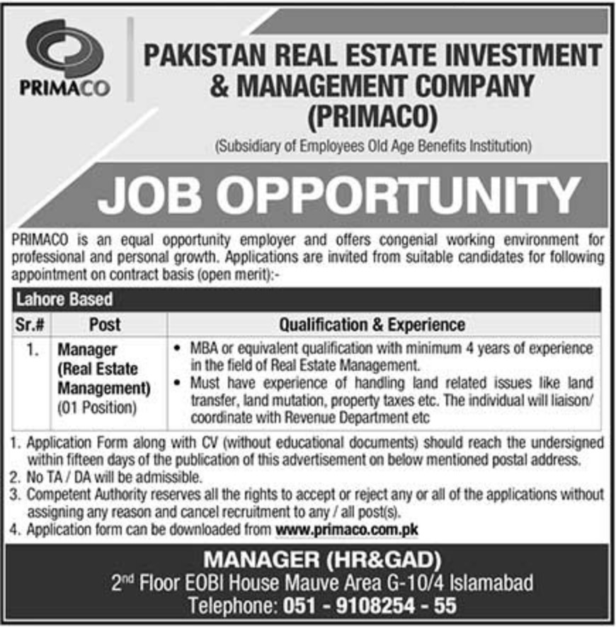Pakistan Real Estate Investment and Management Company (PRIMACO) Islamabad Jobs 2018