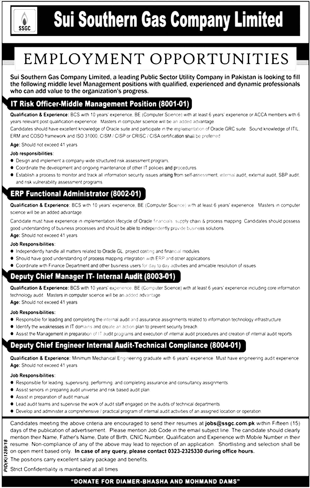 SSGC Sui Southern Gas Company Jobs 2018 Apply Online