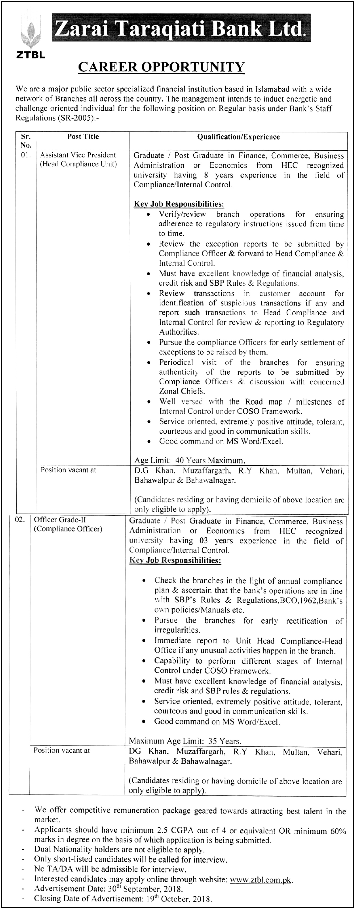ZTBL OG-II Compliance Officer Jobs 2018 Application Form Download