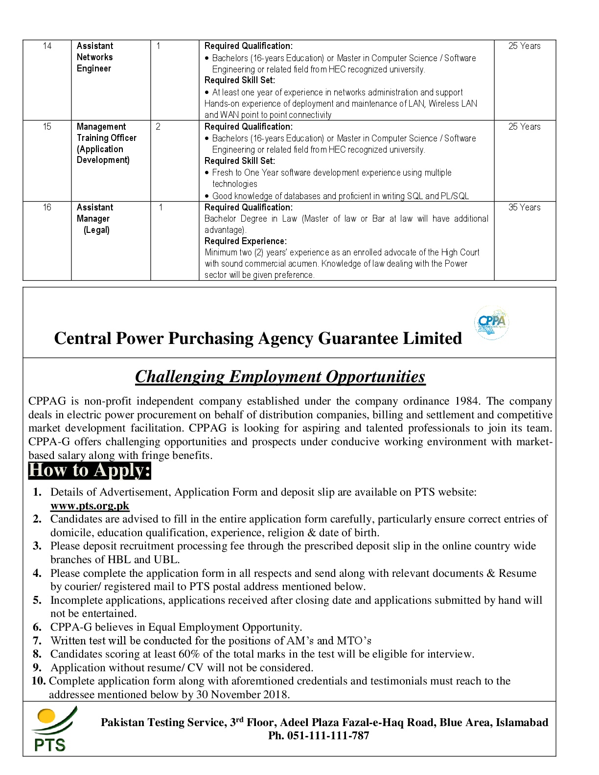 PTS Central Powar Purchasing Agency CPPA Jobs 2018