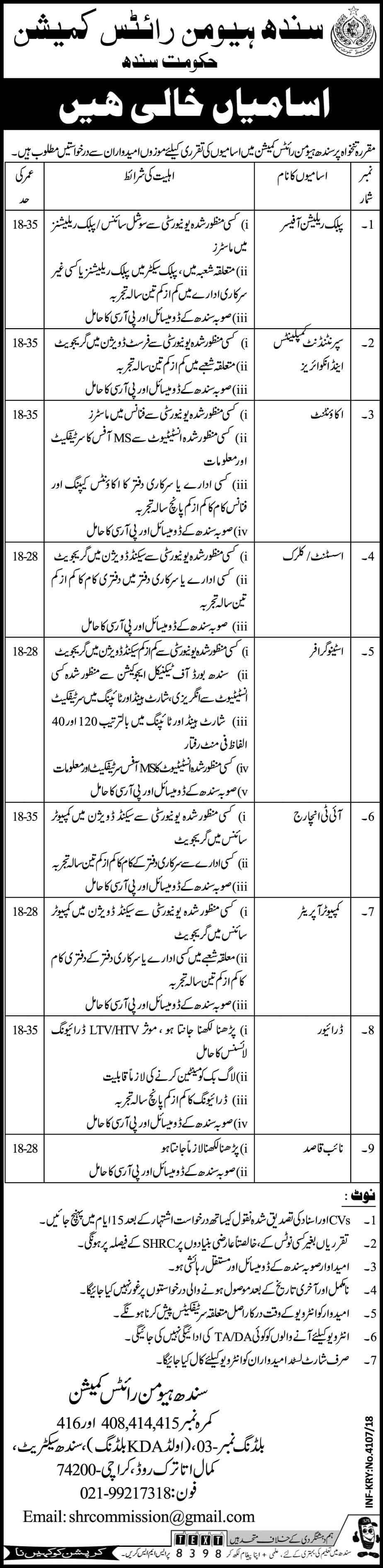 Human Right Commission Sindh Jobs 2018 Apply Online
