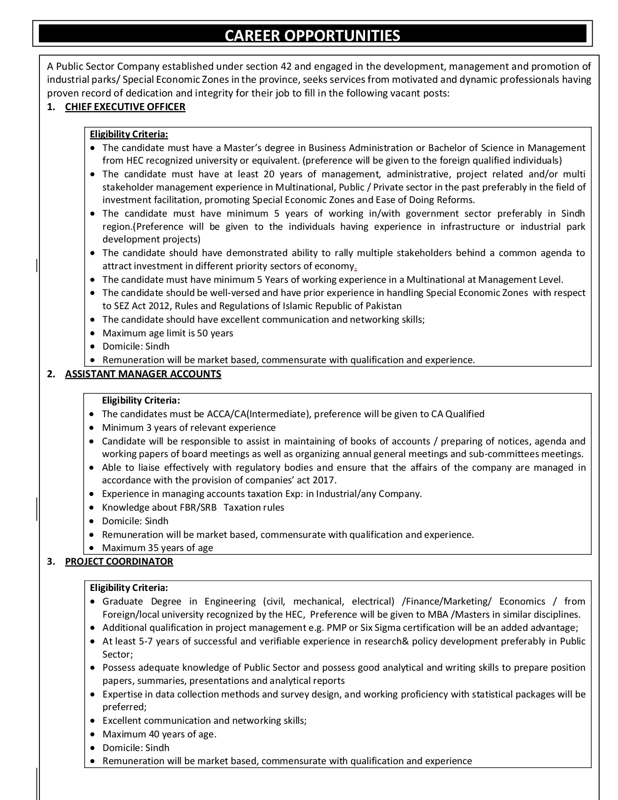Public Sector Company Sindh PTS Jobs 2018