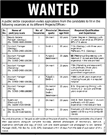 Public Sector Organization PO Box 2158 Islamabad Jobs 2018 Apply online