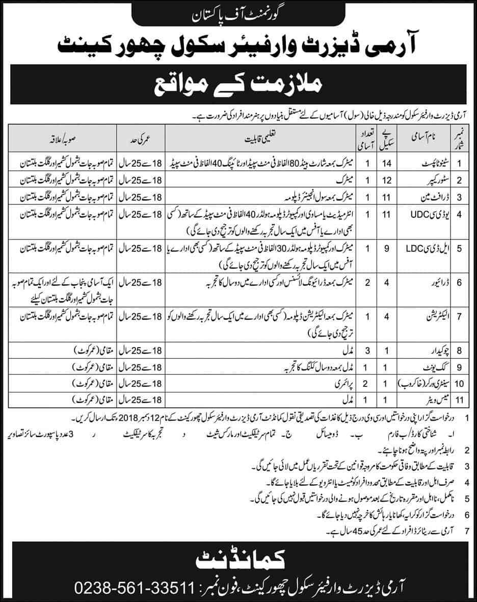 Pakistan Army Warfare School Shorkot Jobs 2018