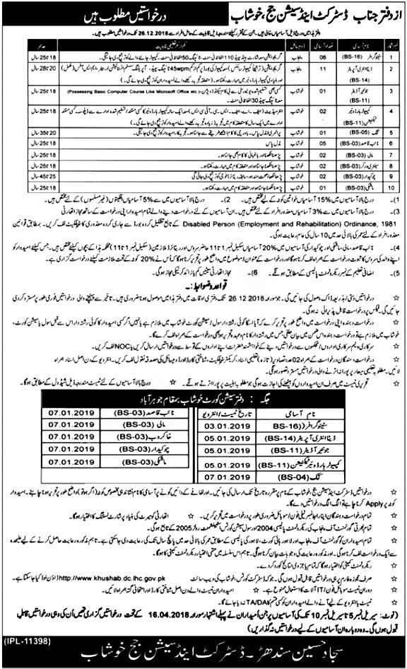 District & Session Court Khushab Jobs 2018 Apply online