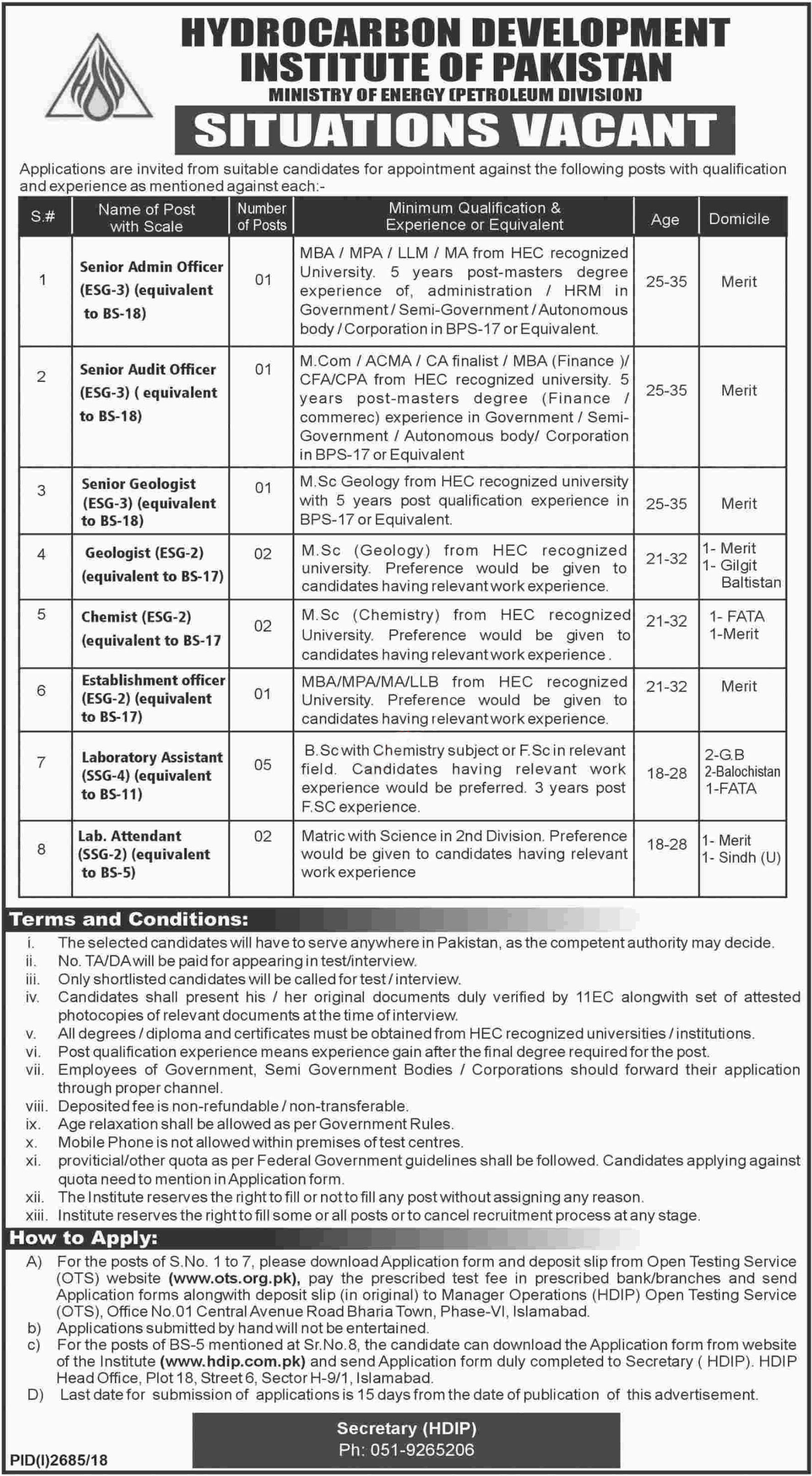 Ministr of Energ Petroleum Division OTS Jobs 2021 Apply online here