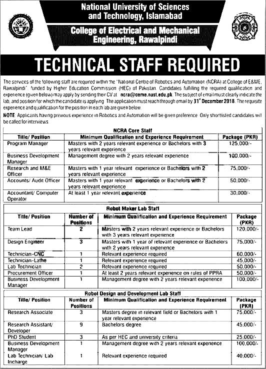 NUST College of Electrical & Mechanical Engineering jobs 2021 Apply online