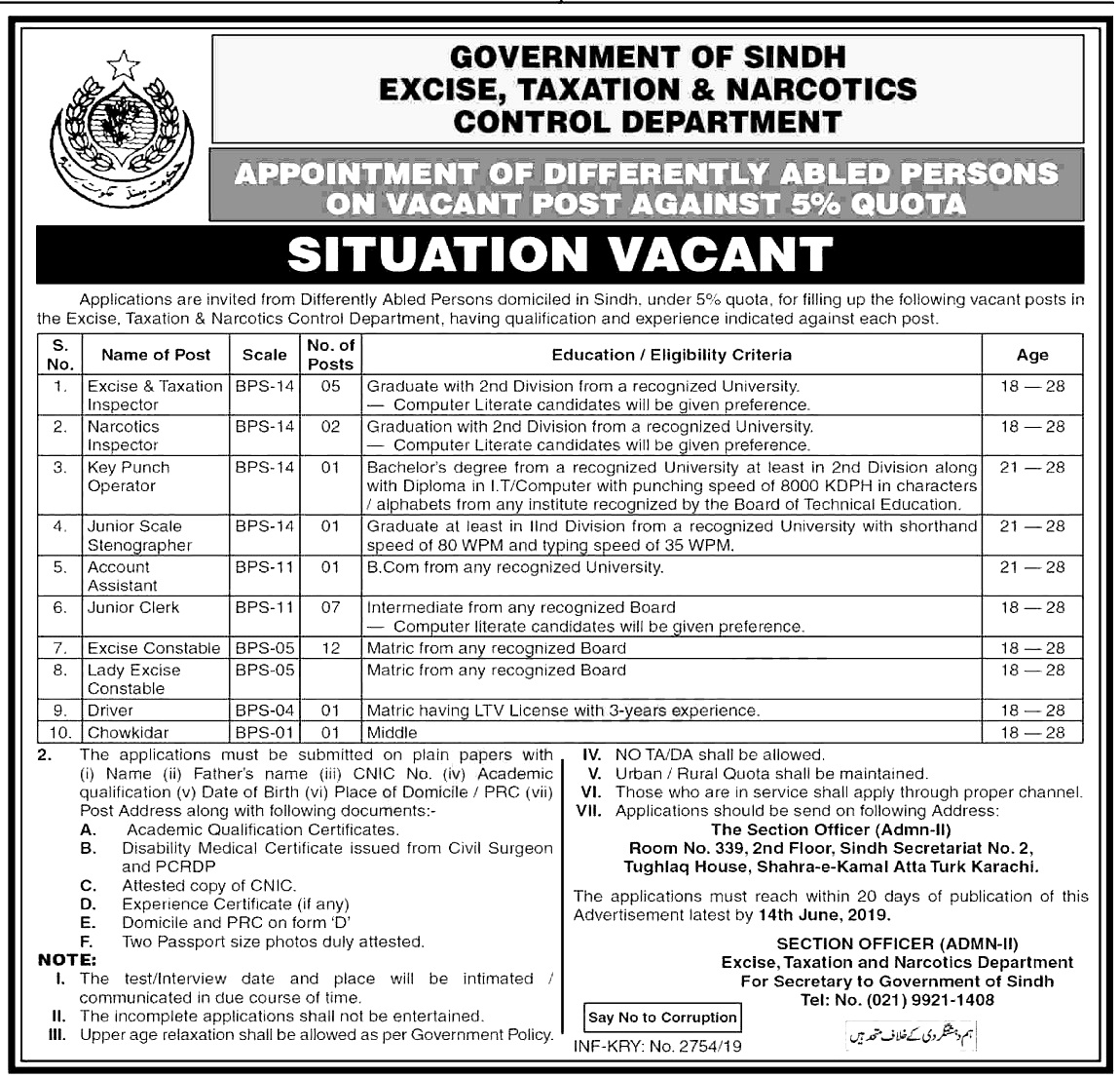 Excise Taxation & Narcotics Control Department Jobs 2019 Application form Eligibility Criteria